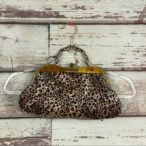 CATO vintage leopard sequin top handle purse